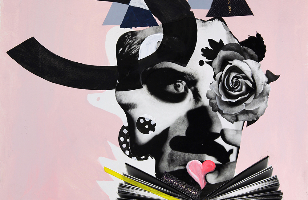 Quentin Jones, Portraits from The Panama Legacy exhibition for Smythson [Bryan Ferry] 2013, collage, acrylic and ink on paper, 63 x 48cm, courtesy of the artist.