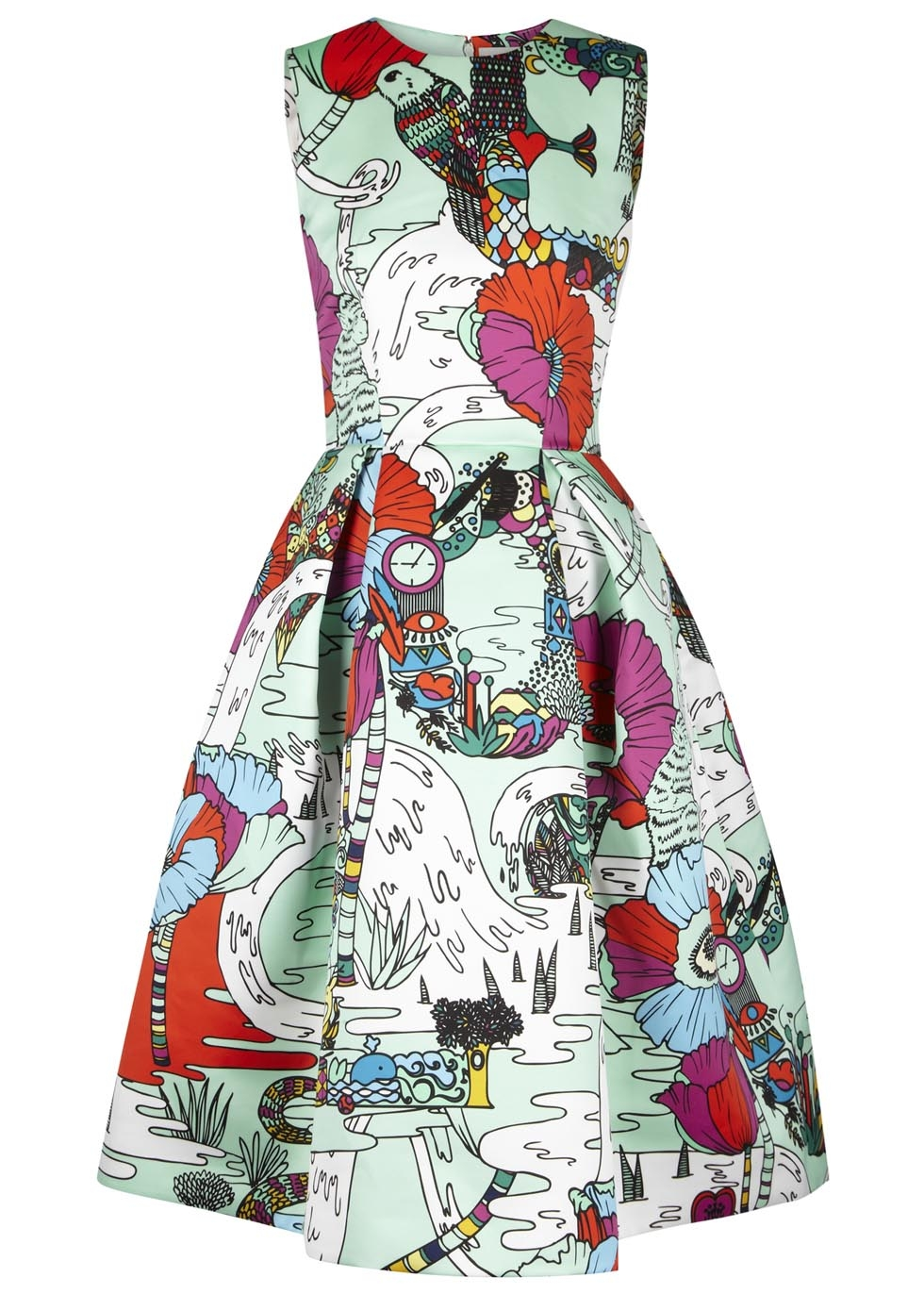 Astere printed flared satin dress, £2,035, Mary Katrantzou. www.harveynichols.com