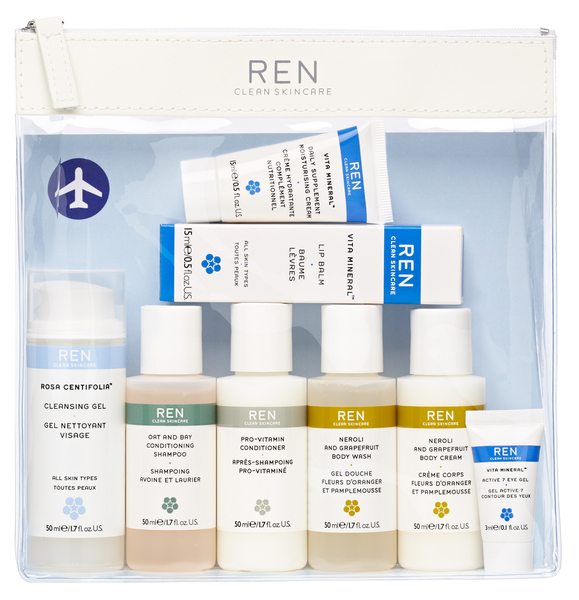 Travel-friendly. £25 http://www.beingcontent.com/body--bath/ren-grab-and-go-kit.htm