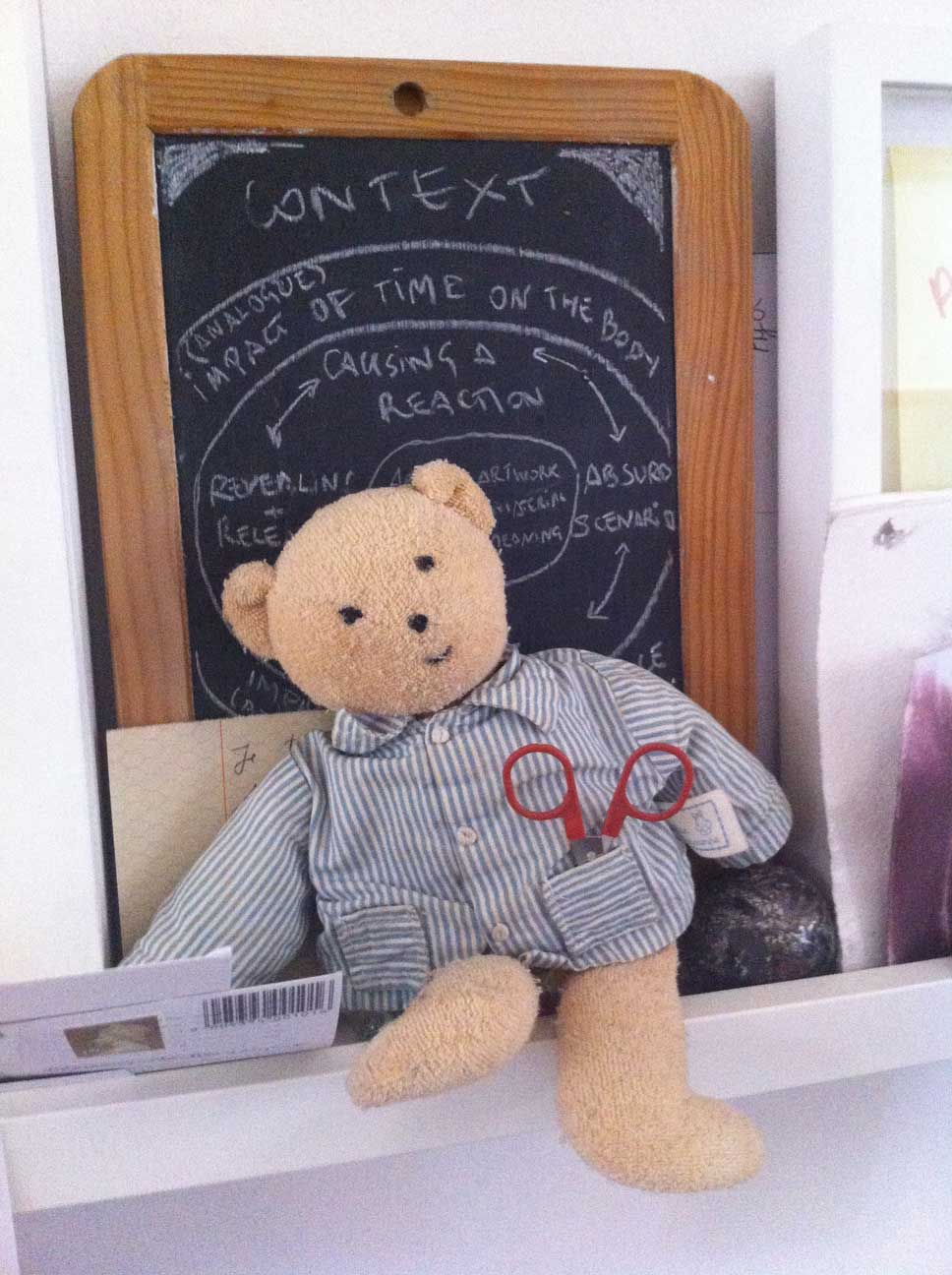 Bear and blackboard. Picture: Bel Jacobs.
