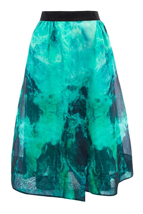 In Smoke print wrap skirt, £160, Whistles.