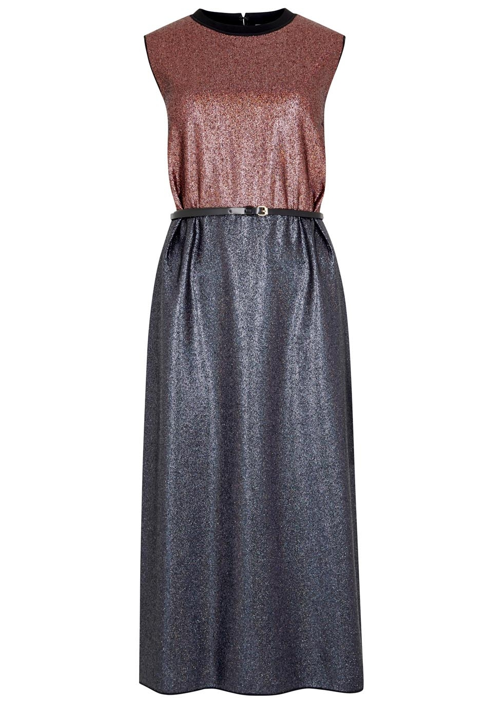 Two-tone belted lamé dress, 685, Victoria, Victoria Beckham. www.harveynichols.com