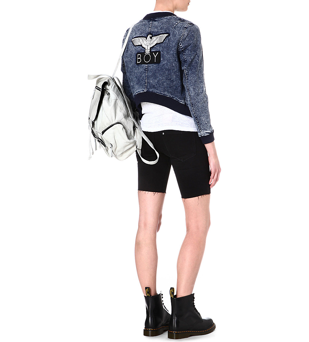 Stretch-denim bomber jacket, £95, BOY London. www.selfridges.com