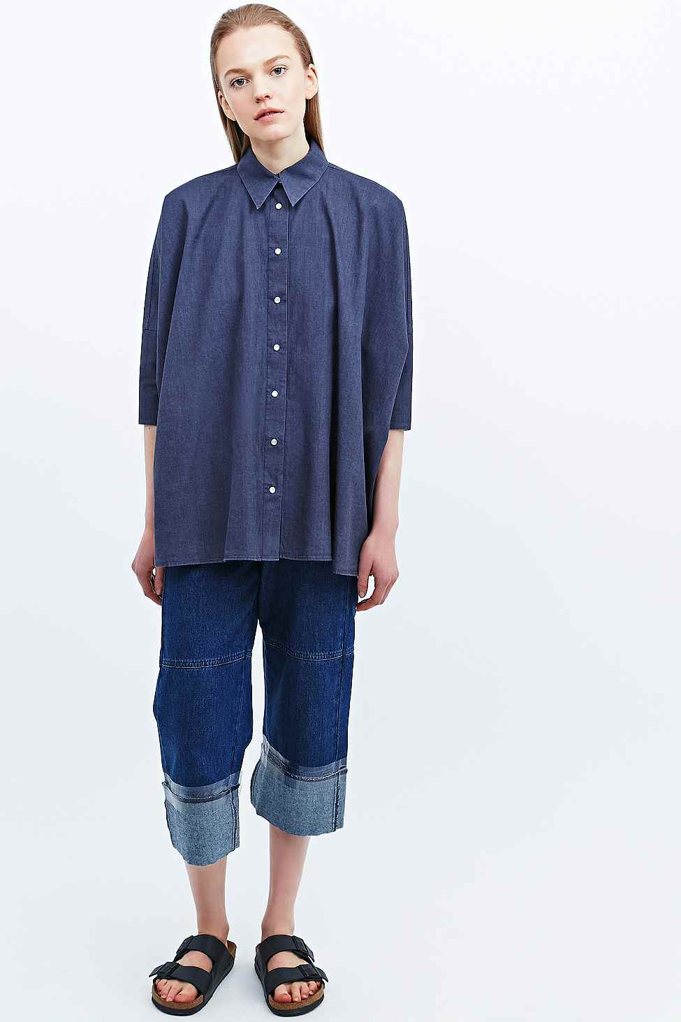Chambray oversized shirt, £225, and long denim culottes, £350, MM6. www.urbanoutfitters.co.uk