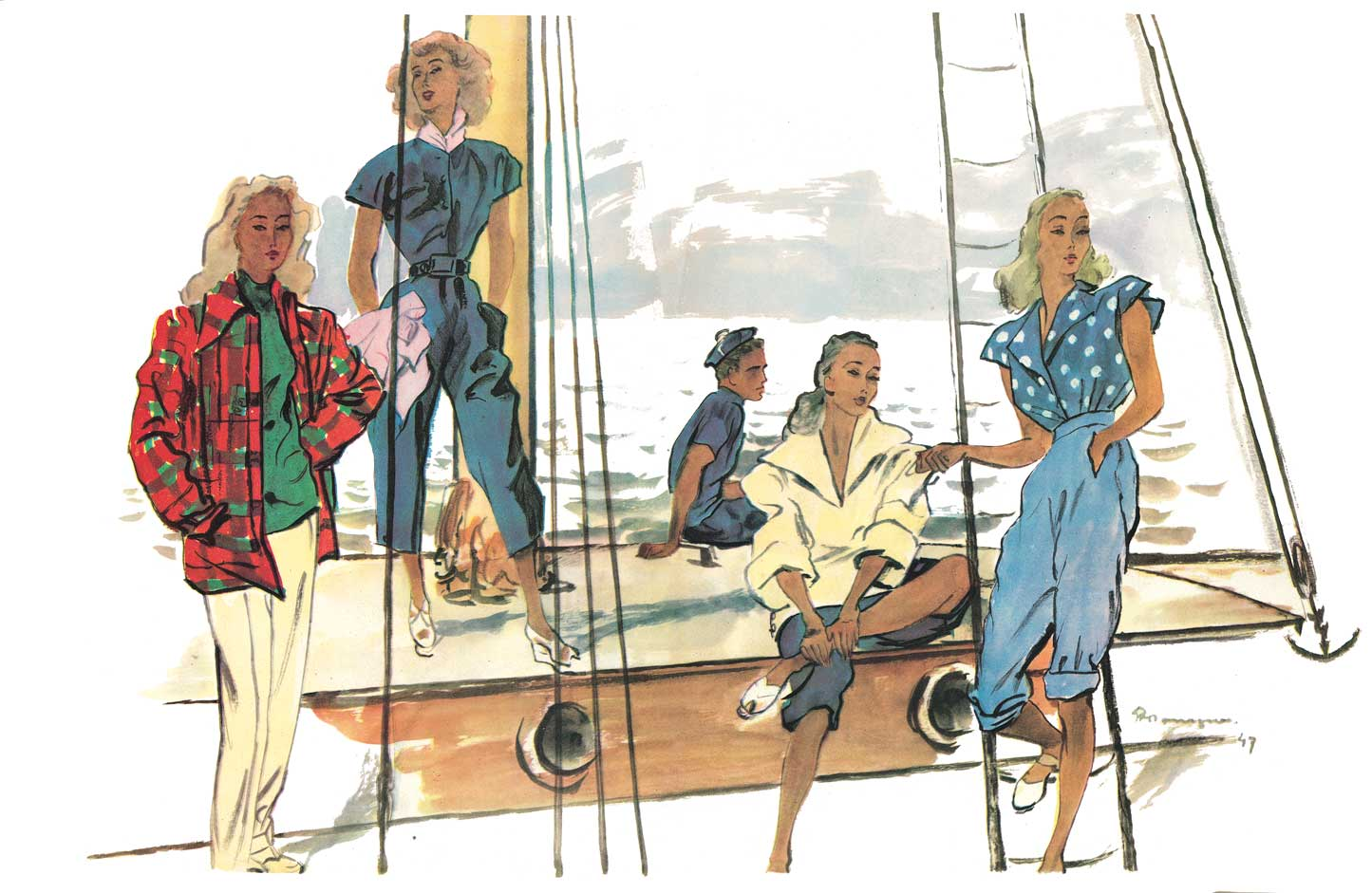 Chic casual designs by Jacques Fath, Pierre Balmain, Carven and Jean Patou, illustrated by Pierre Mourgue, 1947 © Pierre Mourgue
