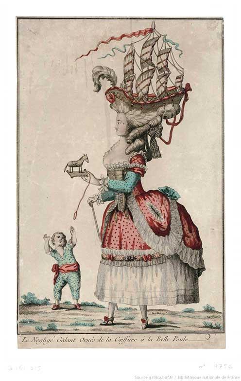Le négligé galant ornés de la coéffure à la Belle-Poule, 1778. Image Courtesy Bibliothèque nationale de France