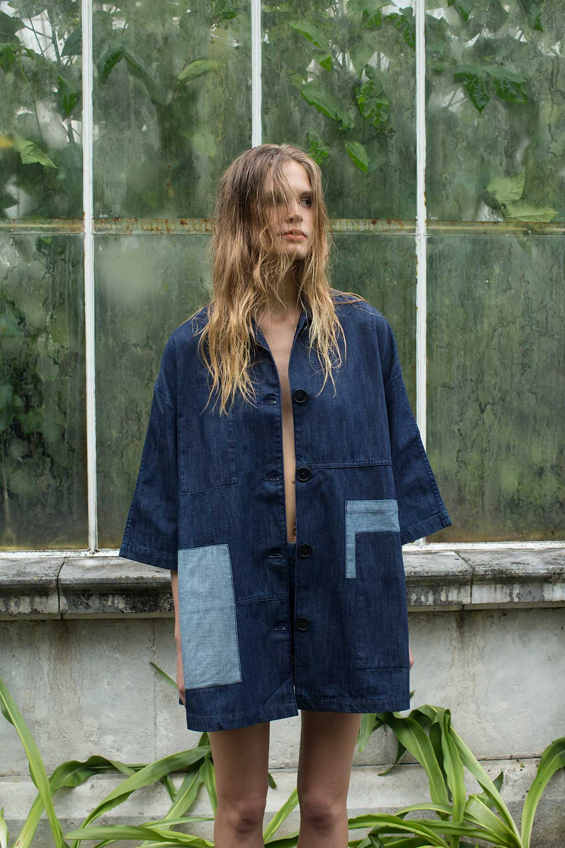 Britta Denim A-Line Smock Jacket in Dark Blue, £70, Waven. www.urbanoutfitters.co.uk
