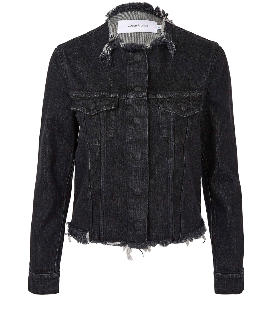 Black Collarless Fray Denim Jacket, £310, Marques Almeida. www.liberty.co.uk
