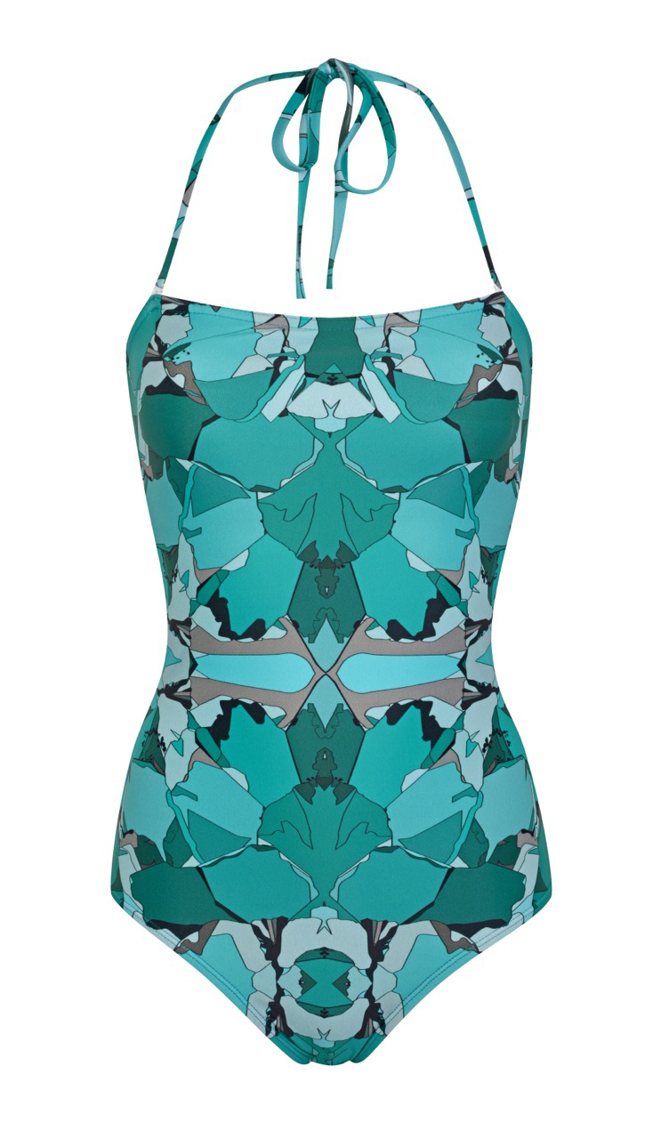 Glass floral bandeau swimsuit, £180. www.lisakinglondon.com