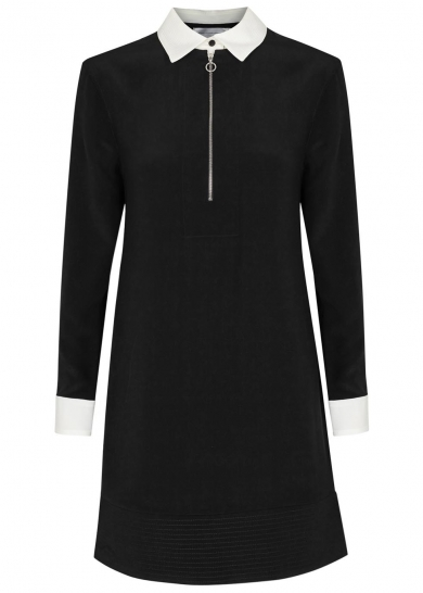 Black and white silk dress, £455, Victoria, Victoria Beckham. www.harveynichols.com