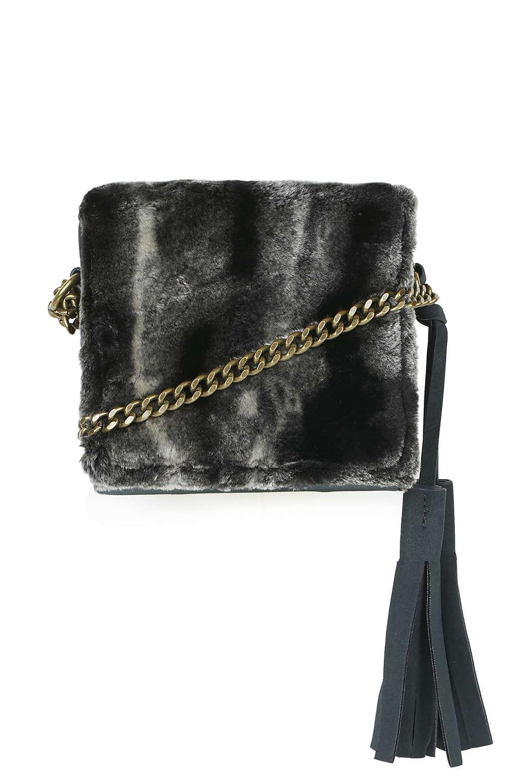 Faux fur boxy bag, £22, Topshop. www.topshop.com