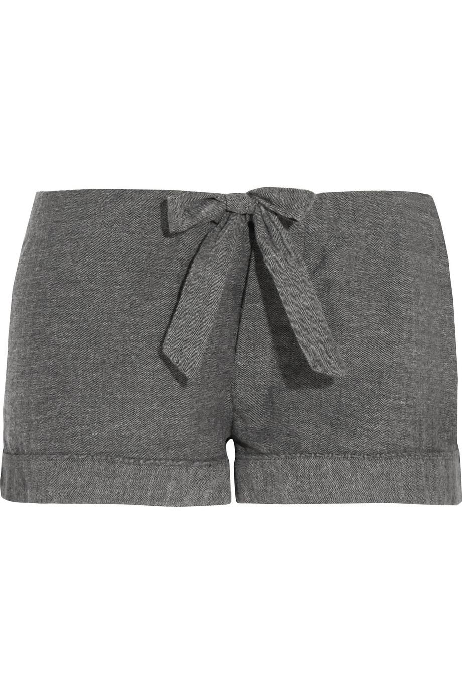 Montana herringbone brushed-cotton pajama shorts £40, Bodas. www.net-a-porter.com