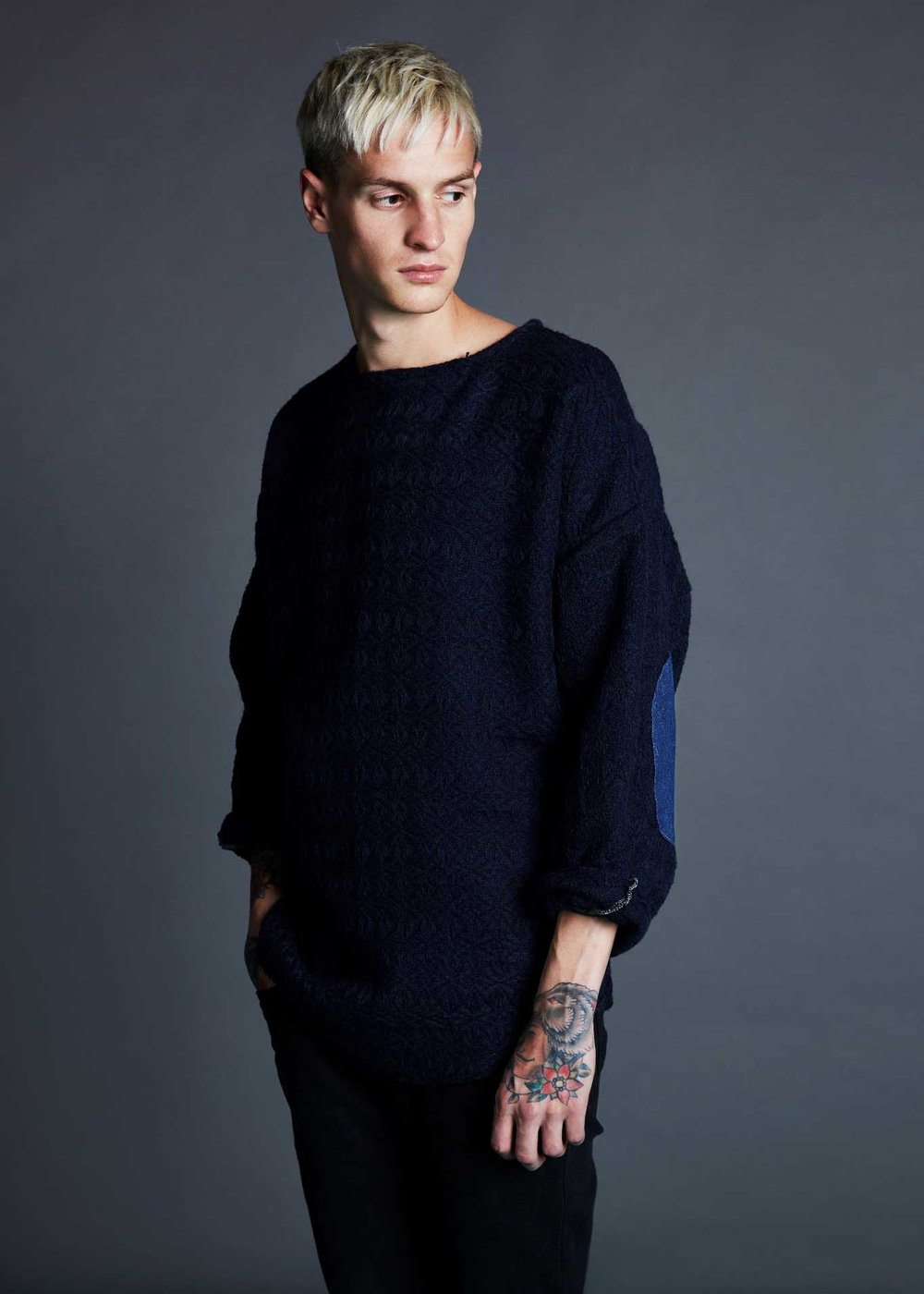 Navy Wool Jumper with Denim Elbow Patches, £60, Alec Bizby.