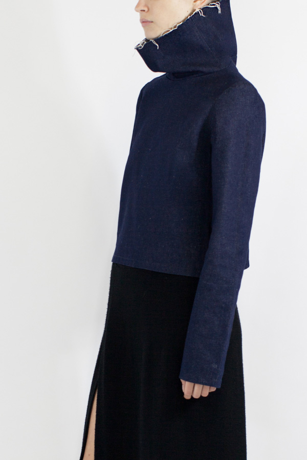 Denim Frayed Cowl Top, £215, Charlie May. http://charlie-may.co.uk