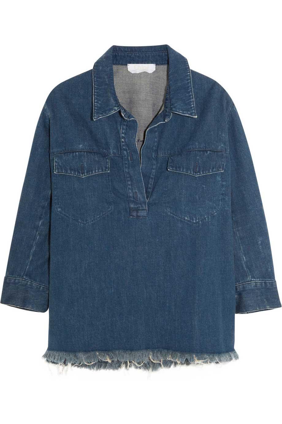 Oversized frayed denim shirt, £425, Chloé. www.net-a-porter.com