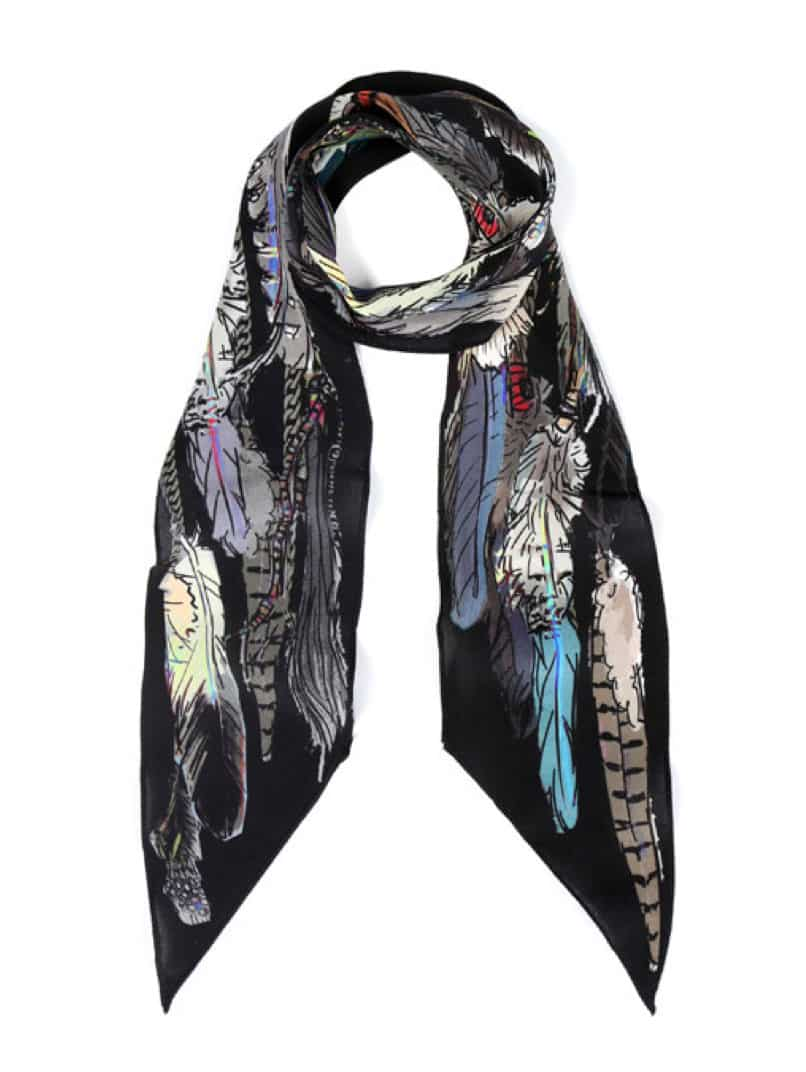 Black Feathers Super Skinny Scarf, £85, Rockins. www.liberty.co.uk