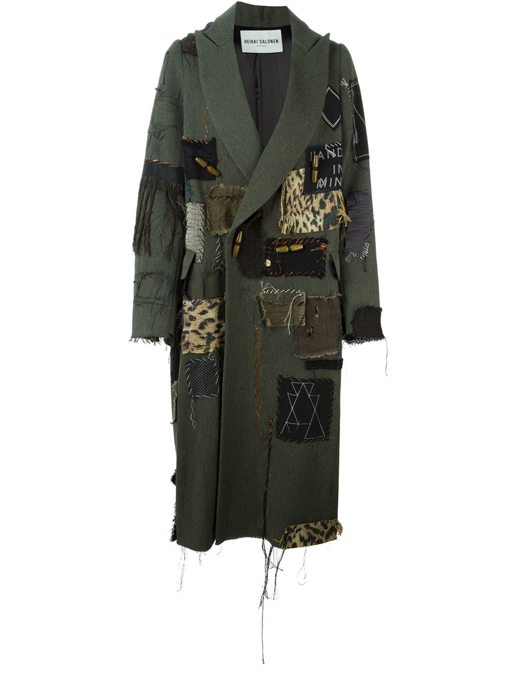 Patched long coat, £1,585, Heikke Salonen. From Hostem and Farfetch.