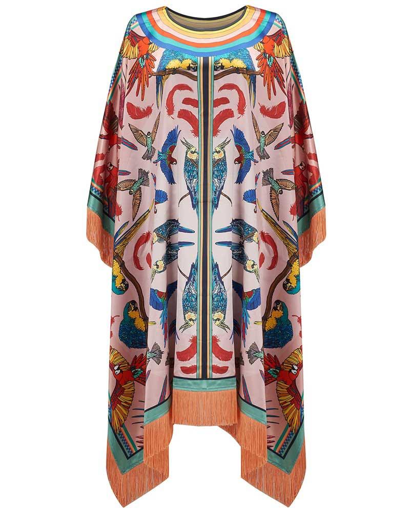 Pink Parrots silk poncho, £475, Silken Favours. http://silkenfavours.bigcartel.com