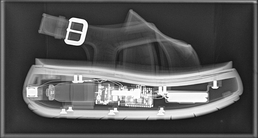X ray image of the Zersetzung sandal, Benjamin John Hall 2016.