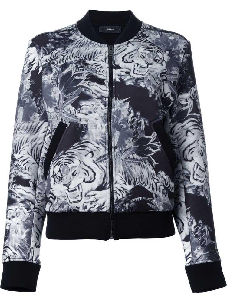 Tiger print bomber jacket, £167, Diesel. www.farfetch.com