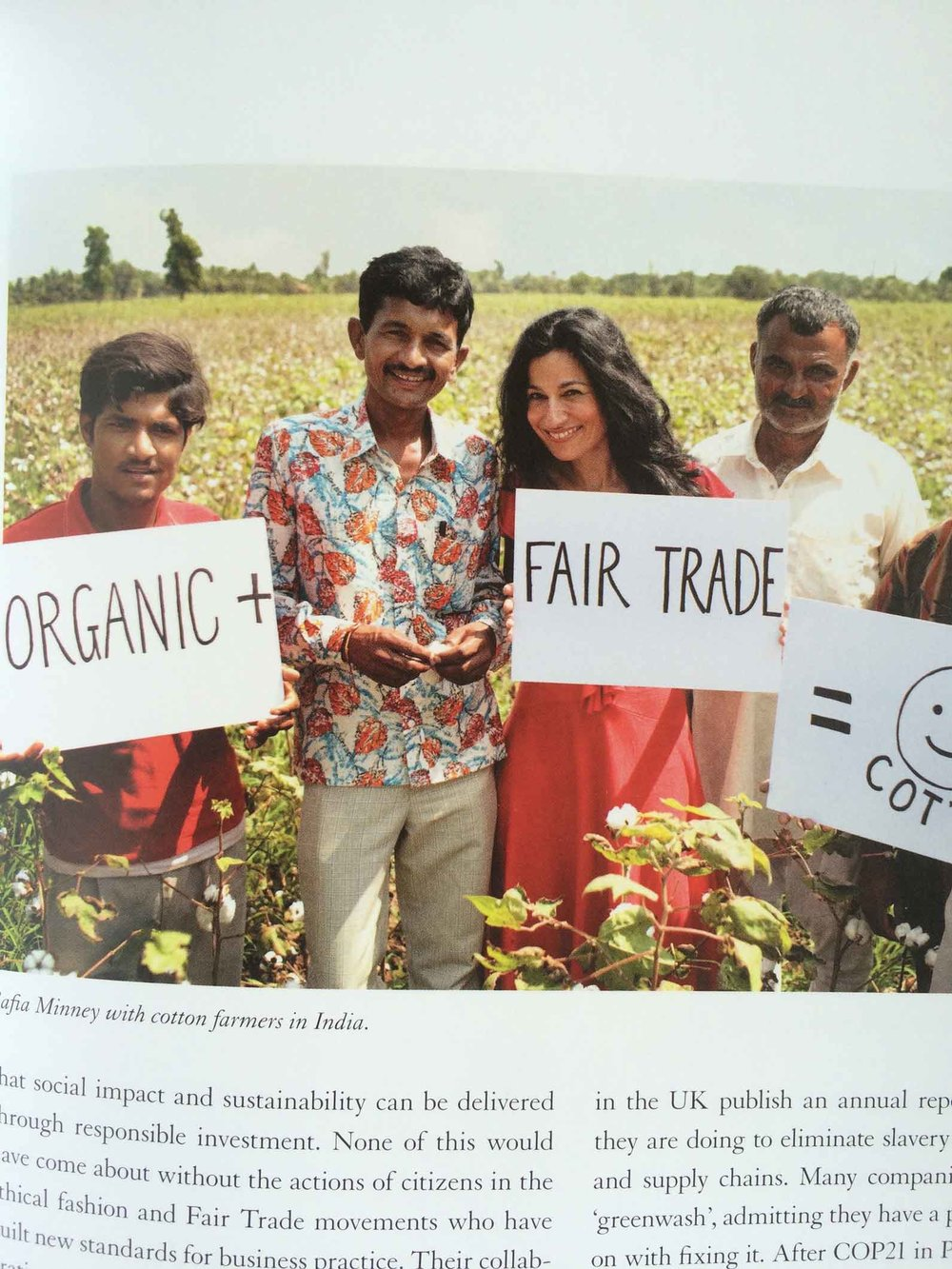 Safia Minney with cotton farmers in India.