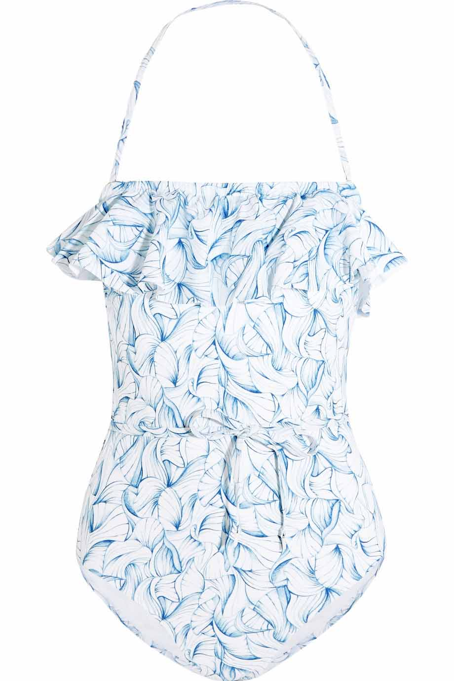 Sapri ruffled printed swimsuit, £230, Tory Burch. www.net-a-porter.com