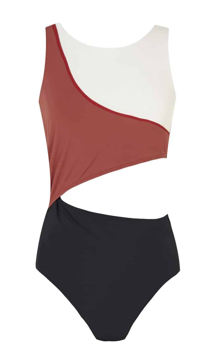 Cutout one piece swimsuit with contrasting binding, £160, Zeus + Dione. www.zeusndione.com