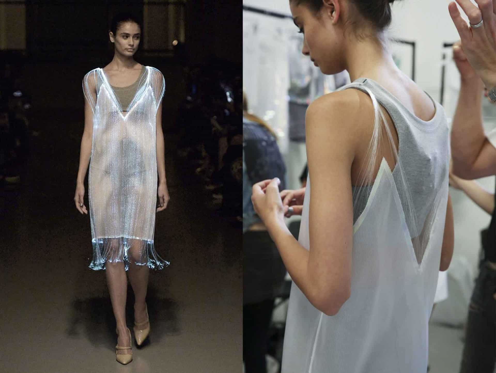 Richard Nicoll's spring/summer 2015 optic dress on the catwalk and backstage at London Fashion