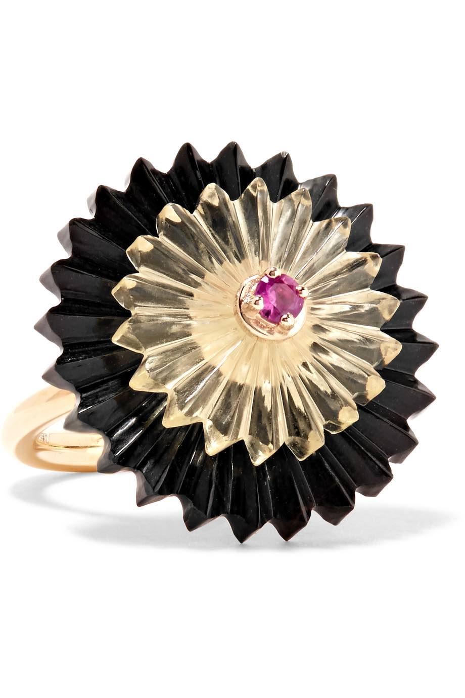 ALICE CICOLINI. Summer Snow Dark 9-karat gold multi-stone ring, £1,260. www.net-a-porter.com