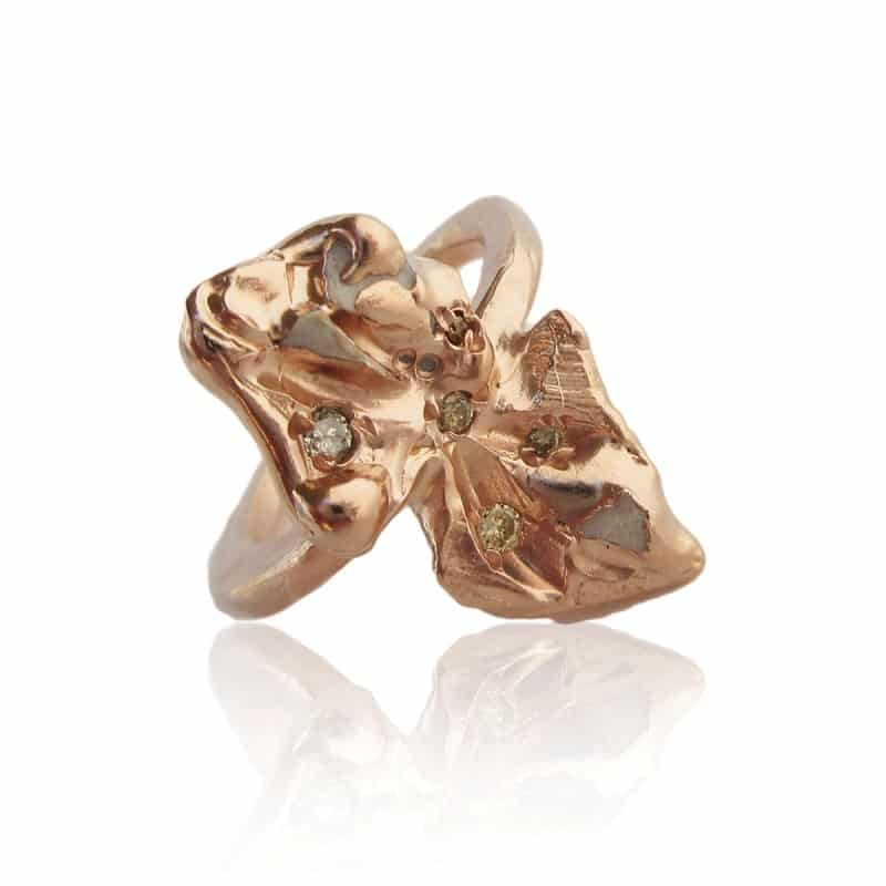 IMOGEN BELFIELD. 'Marpesia rose gold ring, set with white porcelain and 0.01 carat coloured diamonds, £1,360. www.lamaisoncouture.com