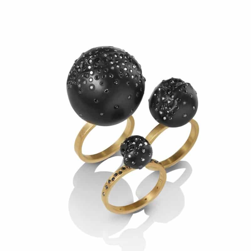 JACQUELINE CULLEN. Whitby Jet Ball Ring with Black Diamonds, from £1,130. www.lamaisoncouture.com