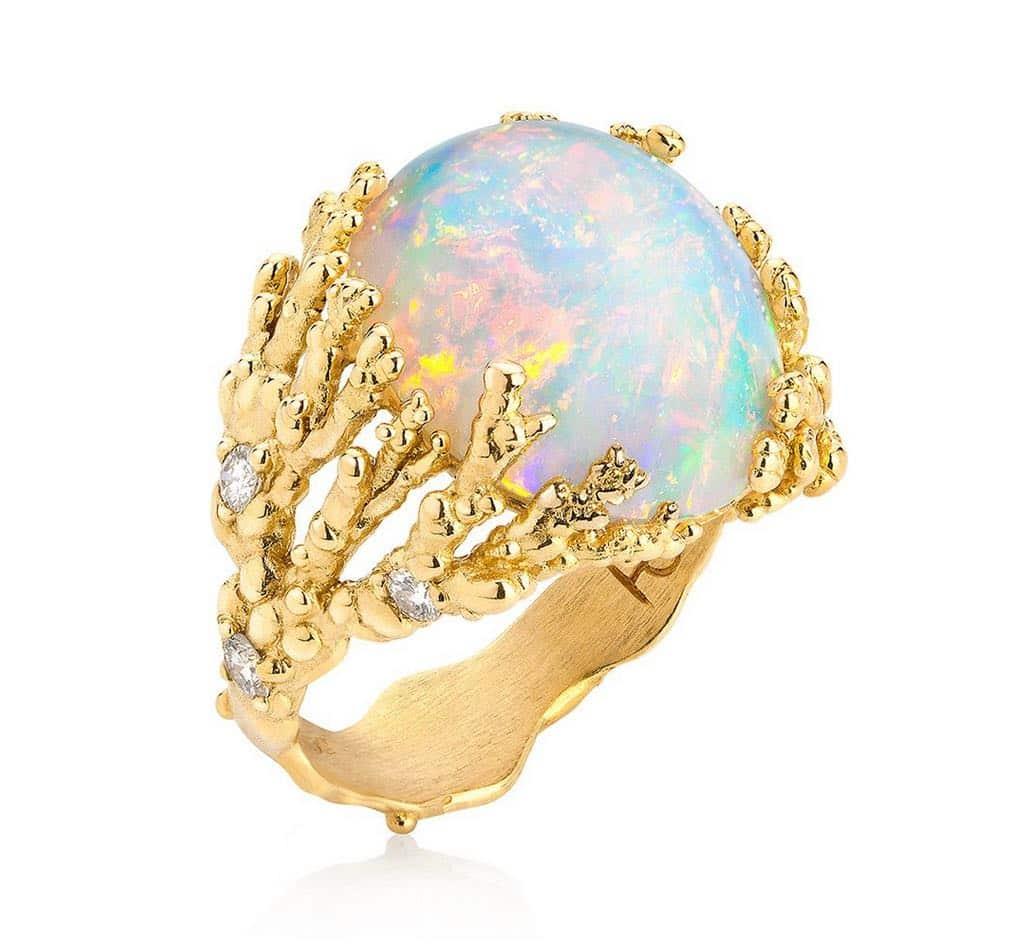 ORNELLA IANNUZZI. Coralline Atoll ring with opal cabochon and diamonds set in 18d gold. £8,800. http://ornella-iannuzzi.com