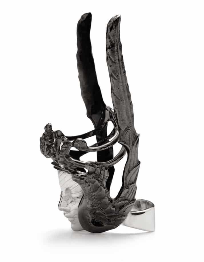 YUNUS & ELIZA. Solid Sterling Silver Messenger ring, £1440. www.yunus-eliza.co.uk