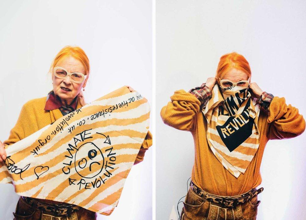 Vivienne Westwood campaigns on climate revolution.