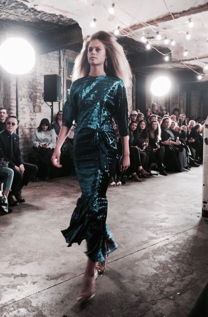 A shimmering mermaid dress recalls 1980s glamour. Picture: Bel Jacobs.