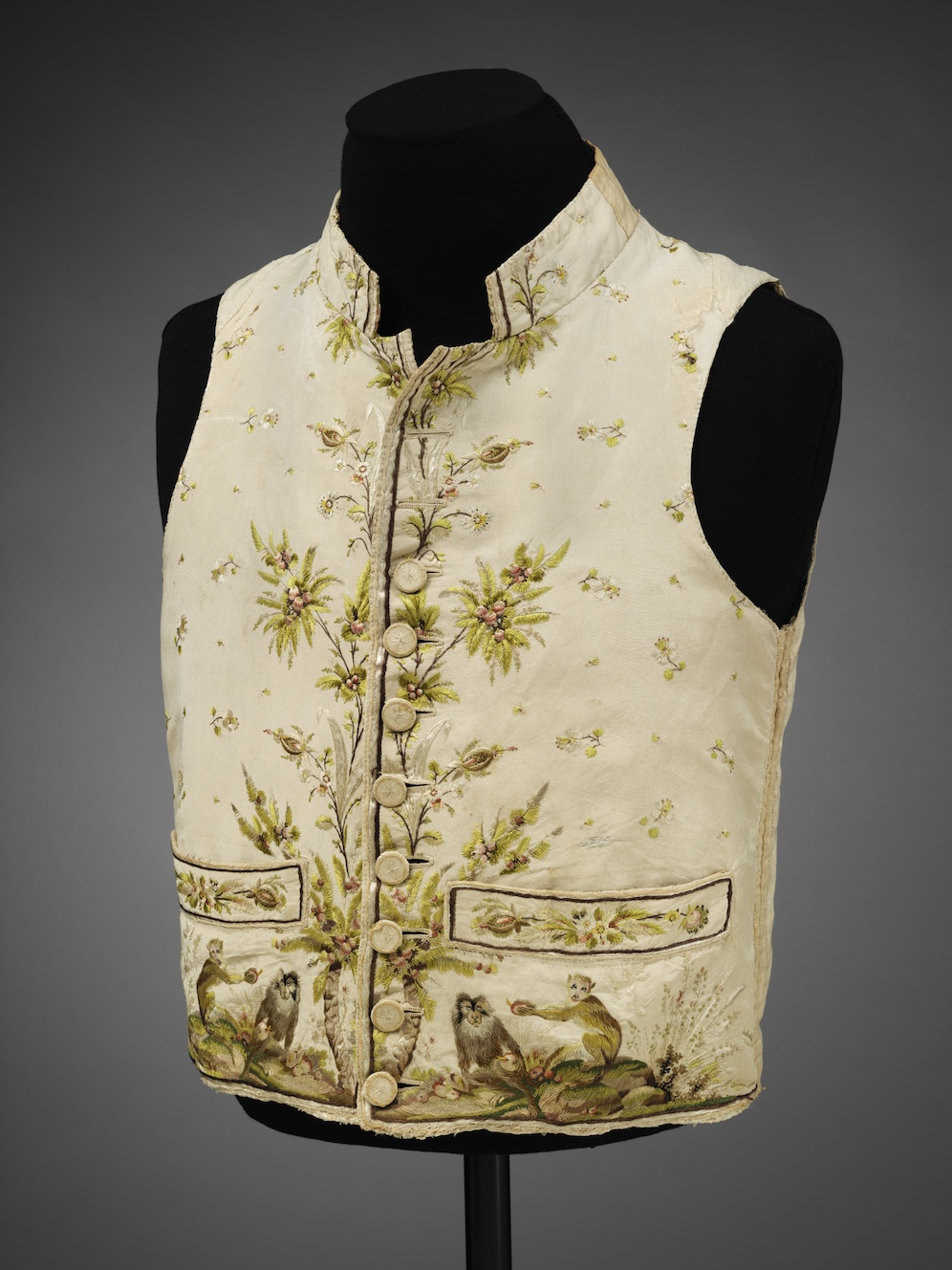 Men's silk waistcoat embroidered in silk with a pattern of macaque monkeys, 1780–89 © Victoria and Albert Museum, London
