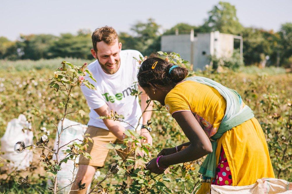 Rapanui visiting organic cotton farmers in India. Picture: Rapanui.