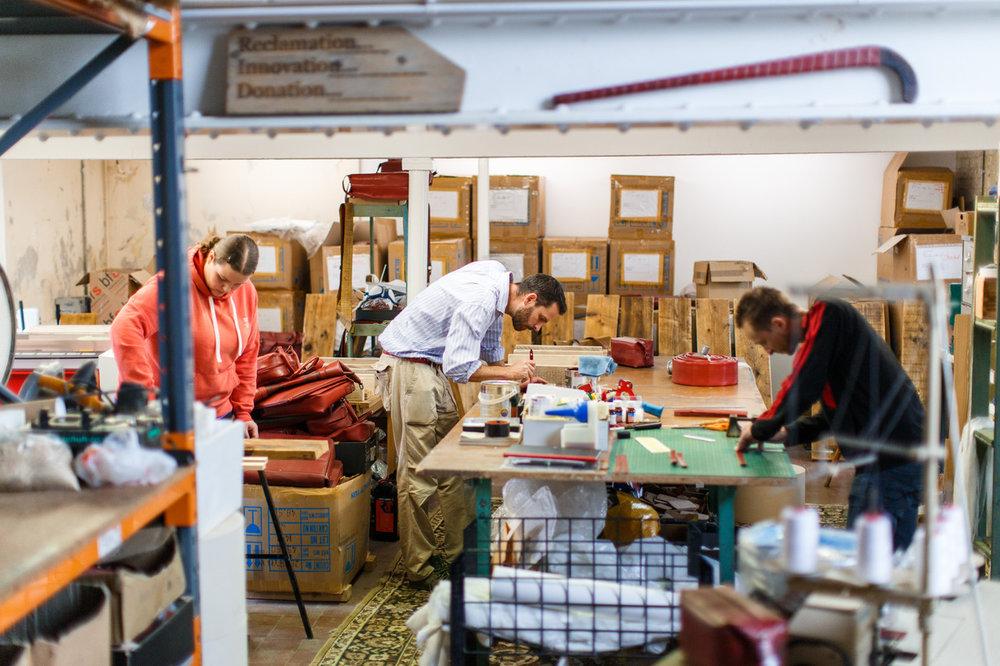 The workshop at Elvis & Kresse's Kent base. Picture: Elvis & Kresse.