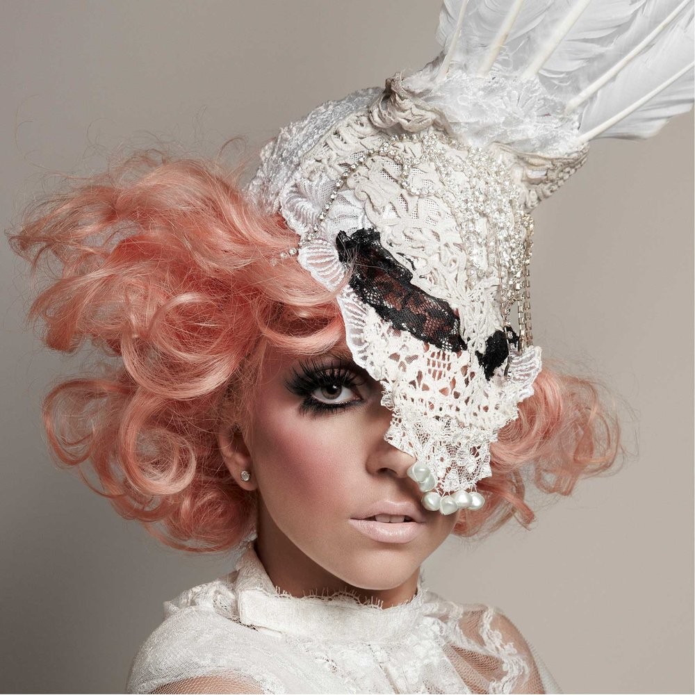 Lady Gaga on the cover of the Vanguard Issue of 944 Magazine, January 2010, wearing Alex Noble hat mask.