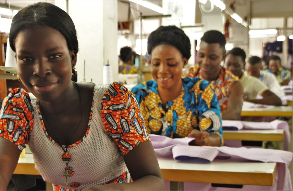 Some of the women who work at Ethical Apparel Africa (EAA).