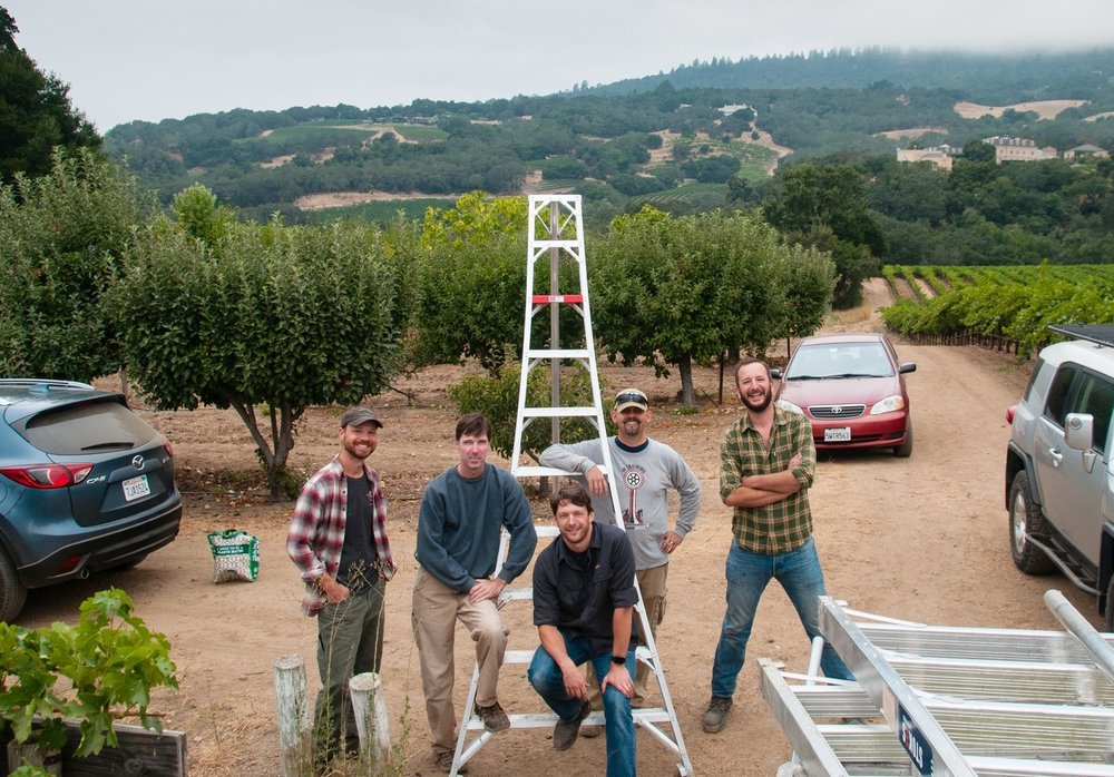 Jason, Jeff, Erik, Jay and Will on a harvest day for the 2017.