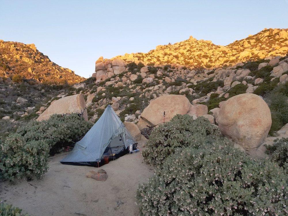 Camp among the boulders
