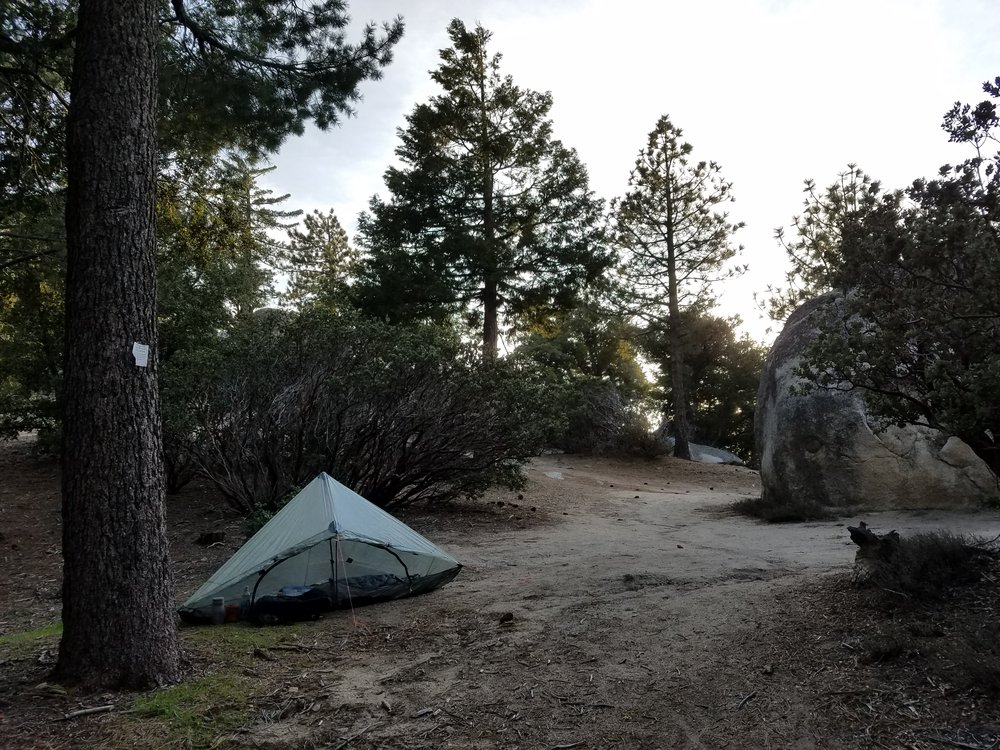 Camp before the unknown conditions on Taquitz Peak