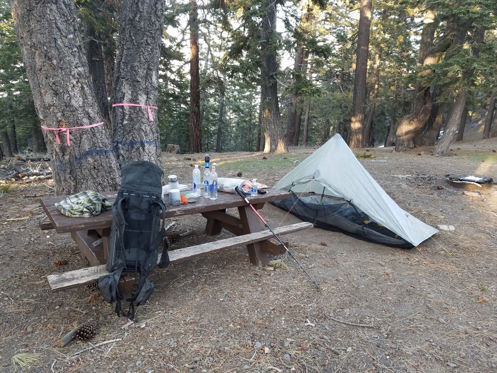 Camp for the night at the deserted Blue Ridge Campground.