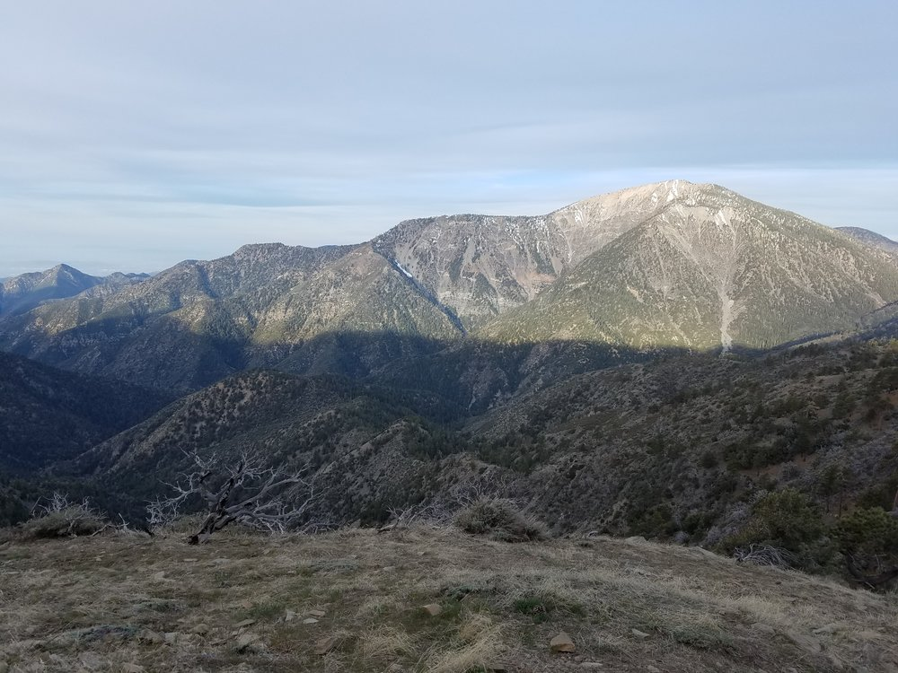 Early morning sun hitting Baden-Powell's East face. There can't be much snow up there, right??