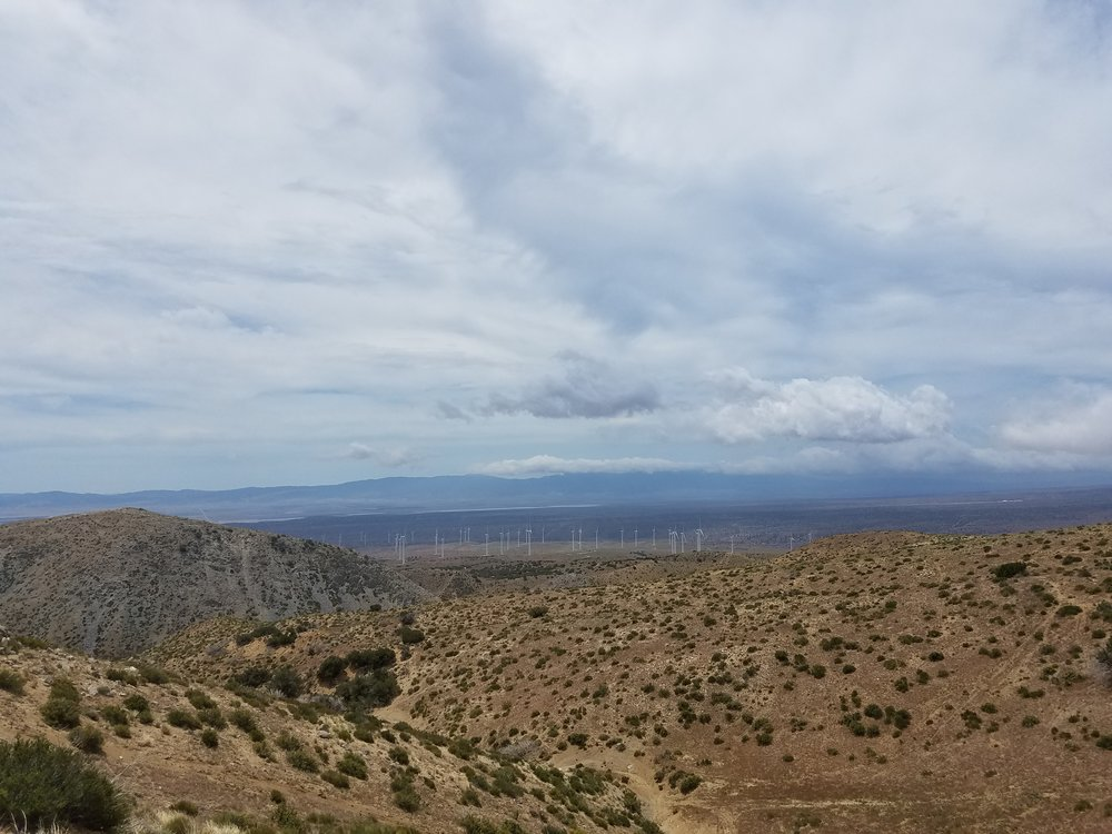Big views of the desert and wind farms.