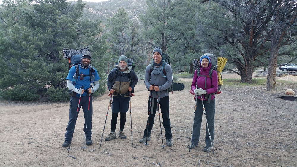 Real-life alpine striders: Myself, Road Dog, Miguel, and Vagabond Runner.