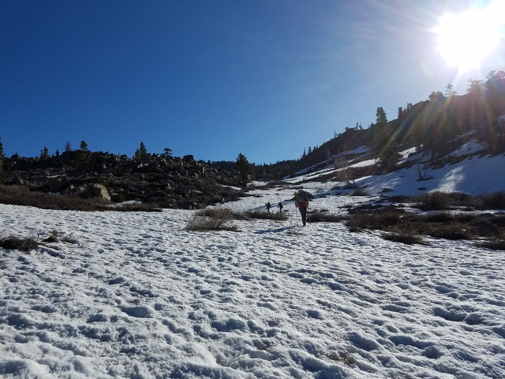 Walking along snow fields with hidden dangers underneath.