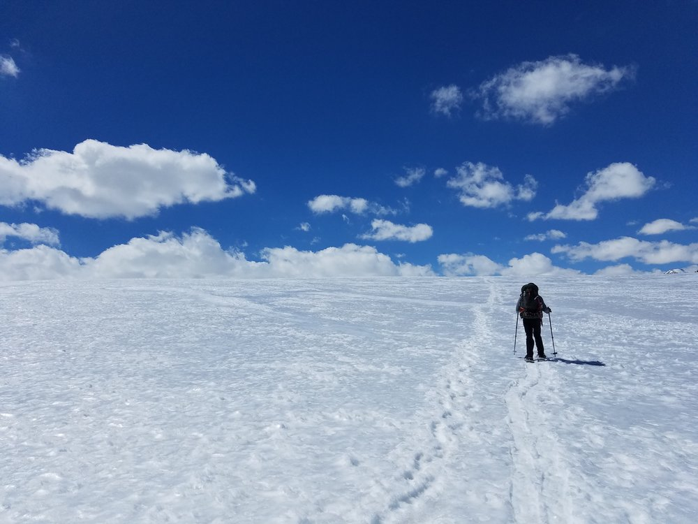 Hiking through the blank expanse of Big Horn Plateau.