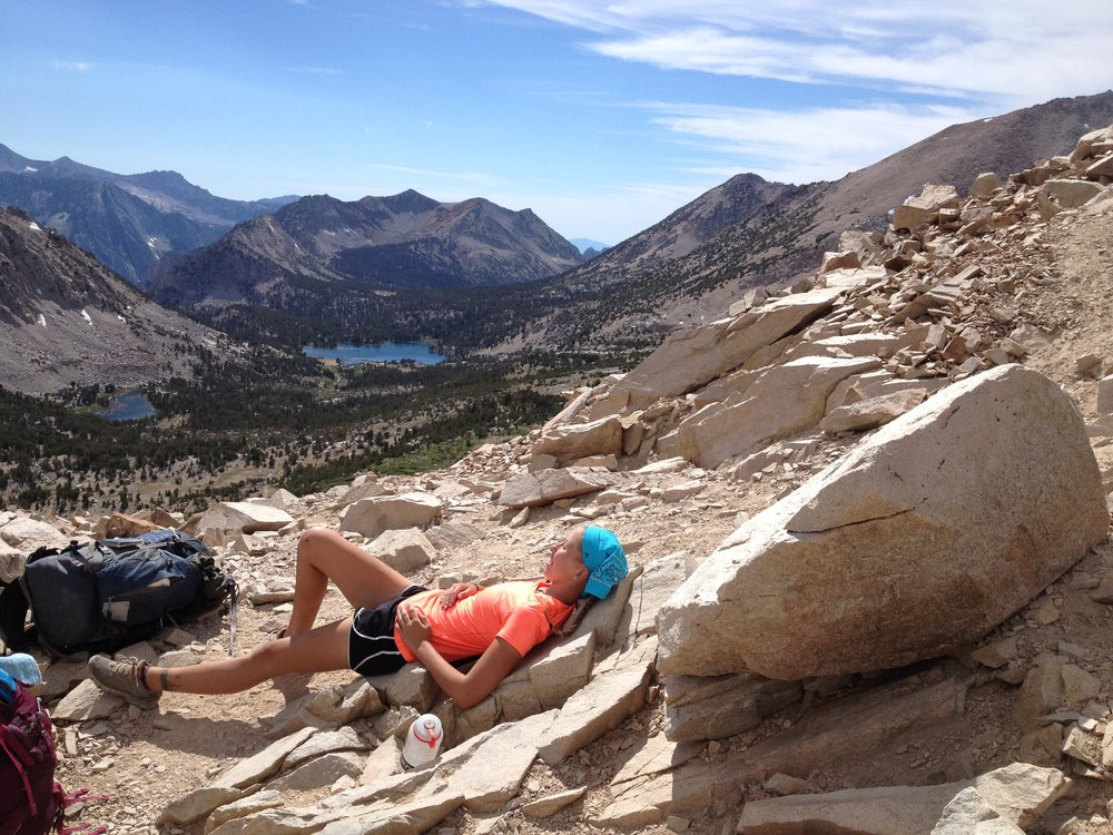 Kearsarge Pass with Bullfrog Lake in the background in 2014. Little bit more comfy to lay down then...